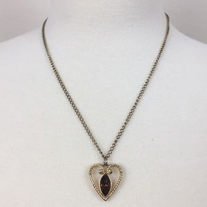 Vintage Gold Amber Stone Heart Necklace